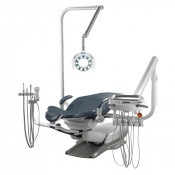 QDU-5871 Swing Mounted Doctor's Delivery, Bel-Halo LED Light and Assistant's Vac Pac shown on a Quolis Q-5000 Dental Chair