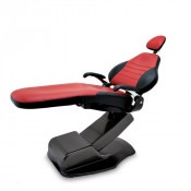 3900 Chair: Charcoal powder  coat with dual color upholstery - Grenadine & Raven Wing
